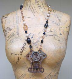 Antique Tintype Assemblage Art Necklace / Instant Ancestors Jewelry