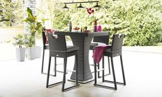  Description Create an oasis in the city with this stylish square rattan bar set, perfect for that shady corner of your garden. Sitting 4 people under the shade of a pretty parasol it will extend your space onto the patio, lawn or sun deck. The bar set...