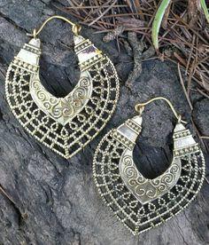 Reich verzierte indische Messing Ohrringe Tribal von ShivaDivaUK