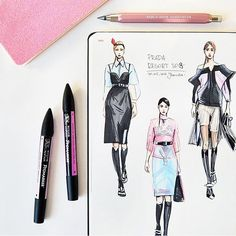 Prada latest collection illustrated by fashion illustrator @niunka_kaminska with classic A4 fashionary sketchbook #fashionary #fashionaryfelt