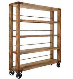 Industrial Style Bookshelf With Caster Wheels - Rustic Chic!