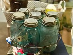 Vintage Blue Bell Jars In Canning Rack   $78  Vintage Affection Dealer #1680  White Elephant Antiques 1026 N. Riverfront Blvd., Dallas, TX 75207