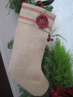 Burlap French FARMHOUSE CHRISTMAS STOCKING Cottage Rustic Country Chic