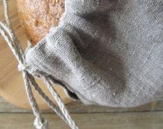 Linen bread bag, Natural linen, bread loaf bag,fax cord, organic food storage,rustic linen, raw linen bag,reuseble  bag, brown natural flax