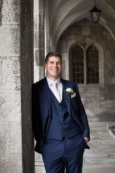 Patrick was a very dapper groom in a navy 3 piece suit and ivory tie and pocket square
