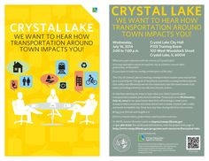The City of #CrystalLake and #CMAP to host open house for transportation master plan 7/16, 3-7 p.m. at City Hall.