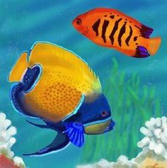 Yellow Angel Fish Decorative Wall Tile 4x4 Coaster by J. $14.95. Raised Relief Wall Art. Use in a backsplash. Back corking can be removed for wall installation. Hang on the wall with attached hook. Vibrant colors that will never fade. Beautiful High Gloss Raised Relief, hand painted tile. Each tile has a cork back and hanger. Great as a coaster, wall hanging or trivet. These tiles look great in a kitchen, bath and even a childs room. Great Gift item.