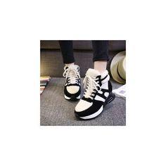 Hidden Wedge Fleece Sneakers (£24) ❤ liked on Polyvore featuring shoes, sneakers, footware, bayo, hidden wedge sneakers, mid heel shoes, hidden wedge shoes and black mid heel shoes
