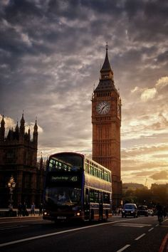 """"""" Big Ben & bus in the evening sun. by (SG) """" """" Big Ben & bus in the evening sun. by (SG) """" England And Scotland, England Uk, London England, Big Ben, London Bus, London City, London Photography, Travel Photography, Oh The Places You'll Go"""