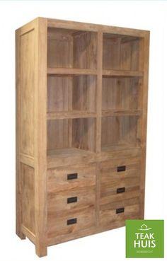 teakhouten boekenkast 13 grote boekenkast met 6 laden strak afgewerkt te leveren in de kleuren koloniaal thee en blank teakhout