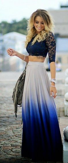 Croped + saia longa. Ombre Maxi Skirt