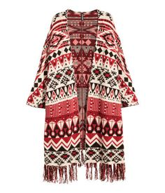 Jacquard-knit Poncho   Red/patterned   Women   H&M US