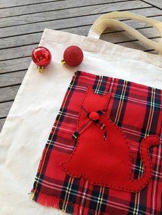 Cat tote bag Christmas bag cotton tote shopping bag