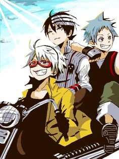 Soul Eater - Soul Eater Evens, Death The Kid, And Black Star Enjoying The Ride