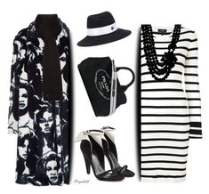 """""""Go Bold In Black & White"""" by ragnh-mjos ❤ liked on Polyvore featuring STELLA McCARTNEY, Theory, UGG, Anne Klein, Maison Michel, Calvin Klein 205W39NYC, Prada, outfit, polyvoreeditorial and statementcoats"""