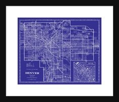 Colorado poster vintage denver travel poster streamliner city of denver street map vintage 1922 street map print poster blueprint malvernweather Images