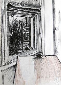 Fenêtre sur cour, intérieur d'un appartement à Londres - Dessin L'Oeil d'Édouard © tous droits réservés