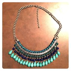 Teal and Royal blue statement necklace Beautiful teal and blue beaded statement necklace. Perfect condition, durable chain and beads! Jewelry Necklaces