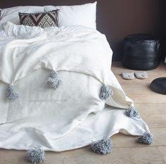 Bedding & other textiles : Cotton Berber blanket white-grey