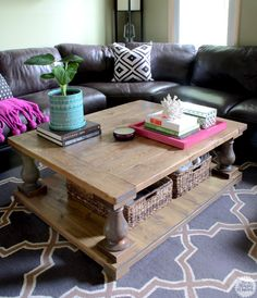 How to build a DIY coffee table tray out of scrap wood - LOVE this!