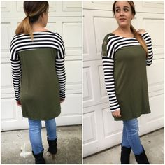 SaleLast medium-Contrast stripe tunics Olive color contrast stripe tunic with buttons at shoulders. Medium (6/8) Price is firm unless bundled. Tops Tunics