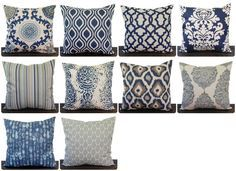 Navy Blue and Beige pillow cover one navy and oatmeal batik cushion cover pillow sham ikat Indigo Collection