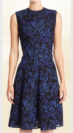Valentino butterfly guipure-lace dress in navy blue 2015
