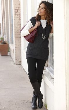 Love the grey vest and black boots