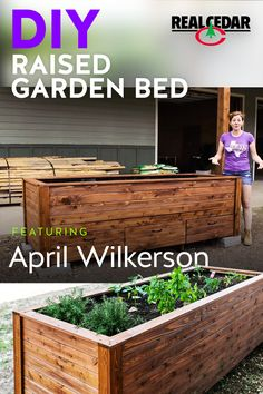 Learn how to make this beautiful raised garden bed, with the help of DIY Pro April Wilkerson! Made with durable Cedar, this will last for years! Outdoor Projects, Garden Projects, Garden Ideas, Building Raised Garden Beds, Wood Raised Garden Bed, Raised Beds, Minimalist Garden, Raised Planter, Garden Boxes