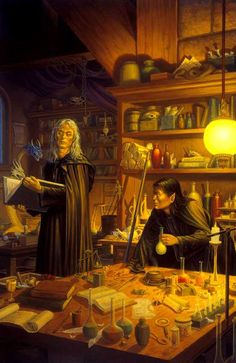 The First Ingredient; Raistlin and Dalamar, art by Larry Elmore