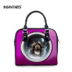 INSTANTARTS Women Leather Handbags Spring Summer Female Shoulder Bags Fashion Ladies Totes Designer Cute Cat Dog Crossbody Bags