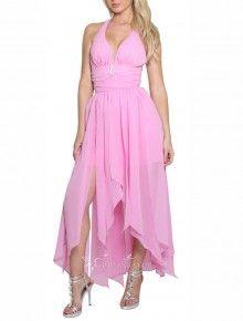 Chic & Modern A-line High Low Halter Sleeveless Dress