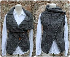 Knitting PATTERN-Big square wrap, womens sleeveless jacket pattern, cardigan pattern - Knitting pattern Big Square Wrap is full of sumptuous texture and cosy comfort. Features big squares of different stitc. Poncho Pullover, Baby Cardigan, Crochet Cardigan, Knit Jacket, Knit Crochet, Wrap Cardigan, Crochet Edgings, Knit Cowl, Cardigan Pattern
