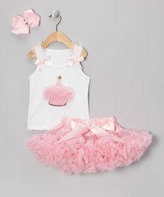 Take a look at this Light Pink One Candle Pettiskirt Set - Infant & Toddler by Birthday Bling Couture on #zulily today!