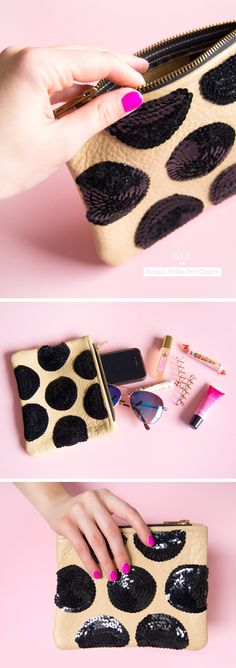 do it yourself, american apparel clutch, black sequins, glue, asos sunglasses, nyx mood lip gloss, juicy couture couture perfume, goody spin pins