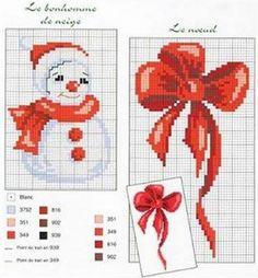 Baby Cross Stitch Patterns, Cross Stitch Charts, Cross Stitch Designs, Christmas Bows, Christmas Crafts, Xmas, Cross Stitching, Cross Stitch Embroidery, Cross Stitch Christmas Cards