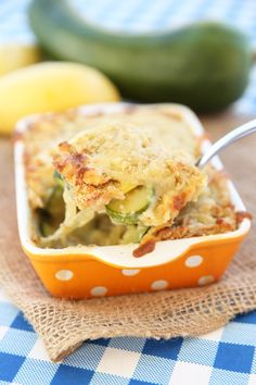 Zucchini Gratin - This takes thin sliced squash, buttery caramelized onions, a light creamy sauce, and tops it with melted cheese and toasted breadcrumbs.  So seriously, if you've got a garden, or a neighbor with a garden, you must make this.  It's awesomely delicious.