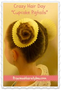 Sticking with the pastry and dessert theme, this look uses cupcake liners and two little buns to create the  cupcake pigtails . Easy? You betcha!