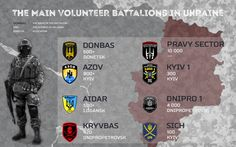 The main volunteer battalions in Ukraine - Infographics Azov Battalion, Ukraine Military, Armed Forces, Warfare, Weapon, Infographics, Maine, Literature, Army