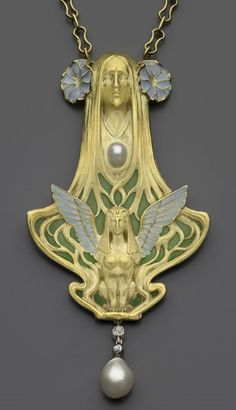 Necklace with a female head and a sphinx, about 1900. Emmanuel-Jules- Joseph [Joë] Descomps (French, 1872–1948). For: Léon Gariod (French). Gold, enamel, diamond, and pearl.