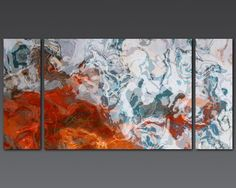 Large contemporary abstract triptych 30x60 canvas print Jasper and Turquoise