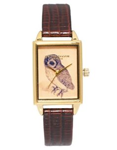 Enlarge Olivia Burton Leather Strap Watch With Rectangular Owl Face