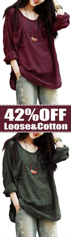 42%OFF&Free shipping. Loose Cotton Blouse, Vintage, Pockets, Pure Color,  Long Sleeve  Blouse. Color: Black, Burgundy, Green, Yellow, Purple. Shop this look right now~