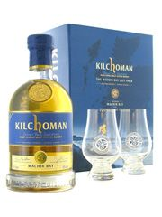 Ideal gift idea for the Islay whisky lover. Fantastic whisky from the newest distillery on the island and beautifully presented. KILCHOMAN Machir Bay 2 Glasses Giftpack.