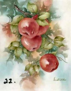 Study of Apples for china painters and porcelain artists, available online in seminars and studies from Charlene Ferrell Whitler porcelain a...