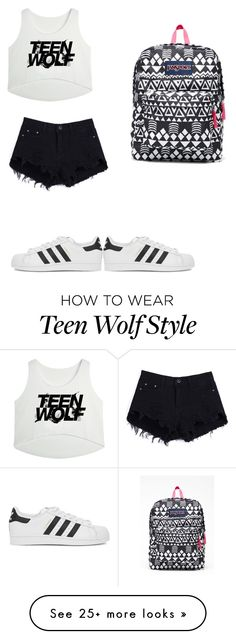 """""""Untitled #296"""" by anna-diva-clara on Polyvore featuring mode, JanSport, adidas Originals, women's clothing, women, female, woman, misses en juniors"""