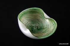 Murano Bowl - Swirls of Green with Copper Aventurine Cased with White and Crystal Glass - Sommerso Glass - Vintage Item - 1950s - 1960s by soflacollectors86 on Etsy