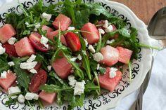 Watermelon, Feta, Arugula Salad With Basil Vinaigrette