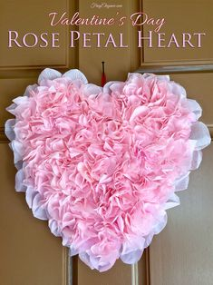 DIY Rose Petal Heart for only $2 & its super easy to create! #ValentineHeart #WeddingDecor #BridalShowerDecor