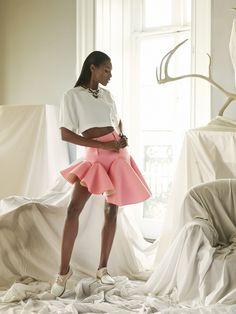 Angolan/Portuguese Model Sharam Diniz for Vogue Italia Accessory February 2014 issue Portuguese, Editorial Fashion, Fashion Dresses, Ballet Skirt, Vogue, Skirts, Model, Pink, February